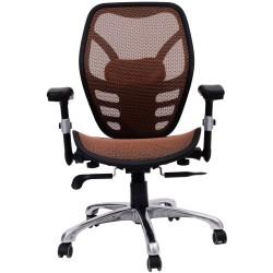HomCom Silla de Oficina Giratoria para Escritorio - Color Marrón - Metal y textilene - Altura total 97x107cm