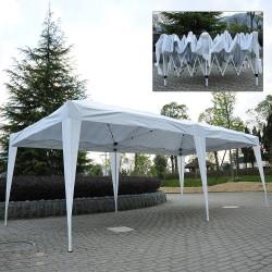 Outsunny Carpa Gazebo para Terraza o Jardín - Color Blanco - Tela de Poliéster y Tubos de Acero - 6x3m - 18m2