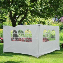 Outsunny Paredes Laterales con Ventana para Carpa Blanco Oxford 3x2m