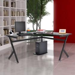 Mesa de PC Ordenador tipo Escritorio para Despacho - Color Negro - MDF E1 y Hierro Recubierto en Polvo - 155x130x76cm