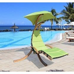 Tumbona Colgante tipo hamaca con Sombrilla para Terraza Jardín o Playa - Verde - Madera y poliéster - 200x110x200cm
