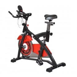 HomCom Bicileta Estática para Spinning y Fitness - Acero - Negro y Rojo - 113x46x89cm