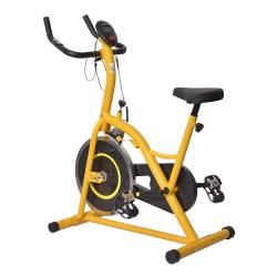 Bicicleta Estática para Spinning y Fitness con Pantalla LED - Color Amarillo y Negro - Acero y Aluminio - 105x50x115cm