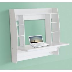 HomCom Escritorio de Pared para PC tipo Estantería - Blanco - Madera - 107,8x10x50cm