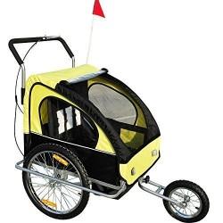 HomCom Remolque para Niños Amarillo Negro Acero Oxford 106 x 90 x 122 cm