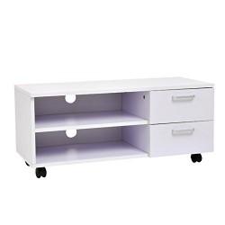 HomCom Mueble de TV Blanco Madera Melamina 80 x 30 x 35 cm