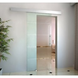 Puerta Corredera de Vidrio Satinado 4 Rayas - Espesor 0,8cm - Dimensiones 205x90cm