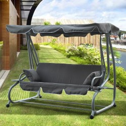 Columpio tipo Balancín de Jardín con Techo Parasol - 3 asientos Reclinables - Color Gris - 200x120x164cm