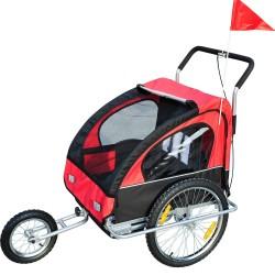 Remolque de Bicicleta para Niños 2 Plazas y Carro d...