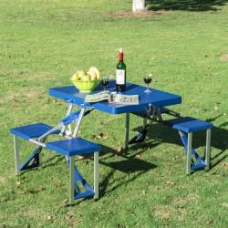 Mesa Plegable de Camping – Con 4 Sillas – Aluminio –...
