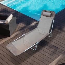 Tumbona Reclinable y Plegable para Playa Jardín o P...