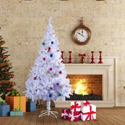 HomCom Arbol de Navidad Blanca Φ85x150cm con Adornos