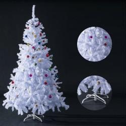 HomCom Arbol de Navidad Blanca Φ105x150cm Arbol Artificial con Adornos