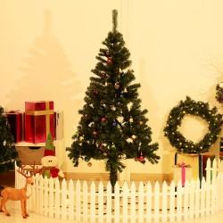 HomCom Arbol de Navidad Verde con Adornos Φ75x150cm Arbol Artificial Decoracion