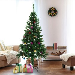 HomCom Arbol de Navidad Verde Φ80x180cm Arbol Artificial con Adornos Decoracion