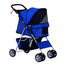 Cochecito Perros Mascotas Plegable Azul 75x45x97cm...