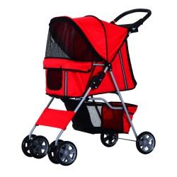 Cochecito Paseo Mascotas Rojo Plegable 75x45x97cm...