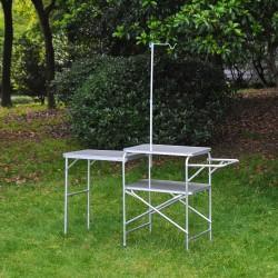 Mesa de Camping Portátil y Plegable - Color Platead...