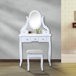 Tocador de Maquillaje con Taburete - Color Blanco -...