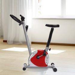 HomCom Bicicleta Estática Spinning Fitness - Color Rojo y Plateado - Tubo de Acero, PP y PVC - 65x43x97cm
