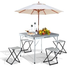 Mesa de Camping con 4 sillas plegables - Aluminio - ...