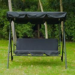 Columpio Balancín de Jardín o Terraza - Color Negro - Metal - 170x110x153 cm