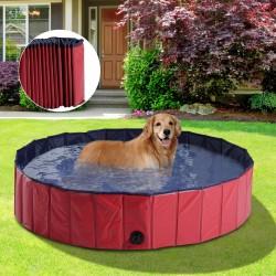 Piscina para Perros Mascotas Rojo PVC Φ140x30cm...