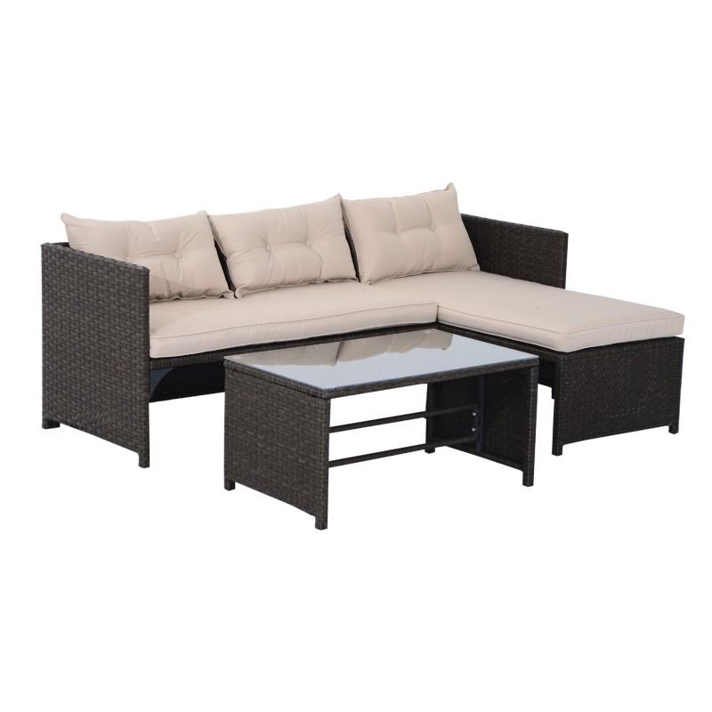 Conjunto de muebles de jard n color marr n y beige - Conjunto muebles de jardin ...