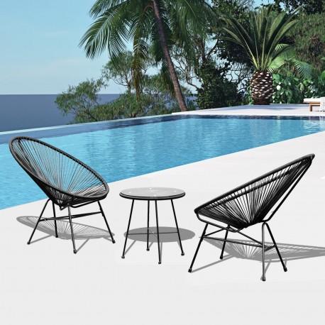 Conjunto de muebles terraza jard n color negro for Conjunto muebles terraza jardin