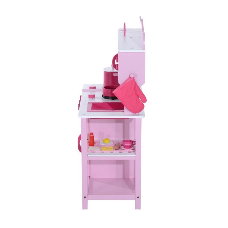 Cocina de juguete infantil con accesorios madera for Cocina juguete madera