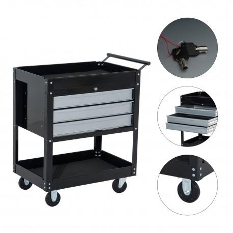Homcom carro de herramientas m vil con ruedas mueble de almacenamiento para taller garaje y - Muebles para garaje ...