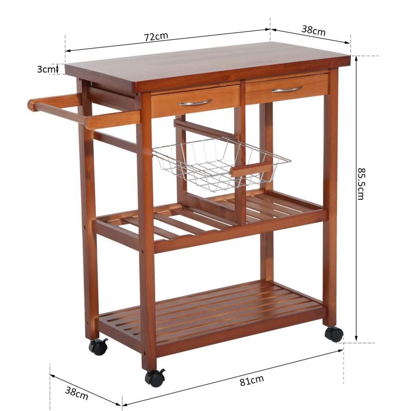 Carrito para cocina madera natural madera metal 81 for Carritos de cocina de madera