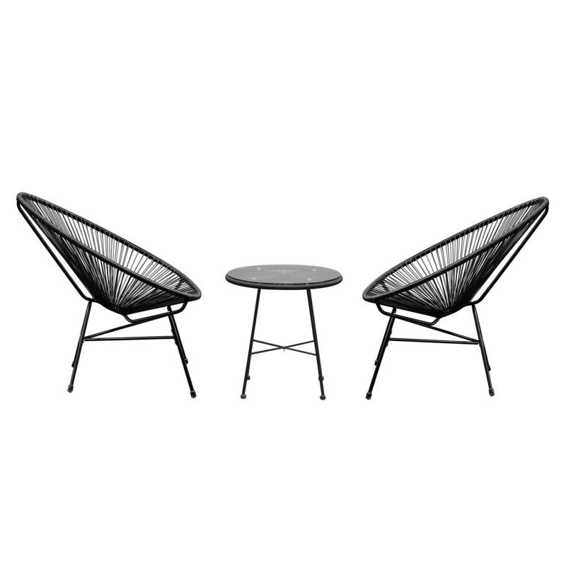 Conjunto de muebles terraza jard n color negro for Sillones terraza jardin