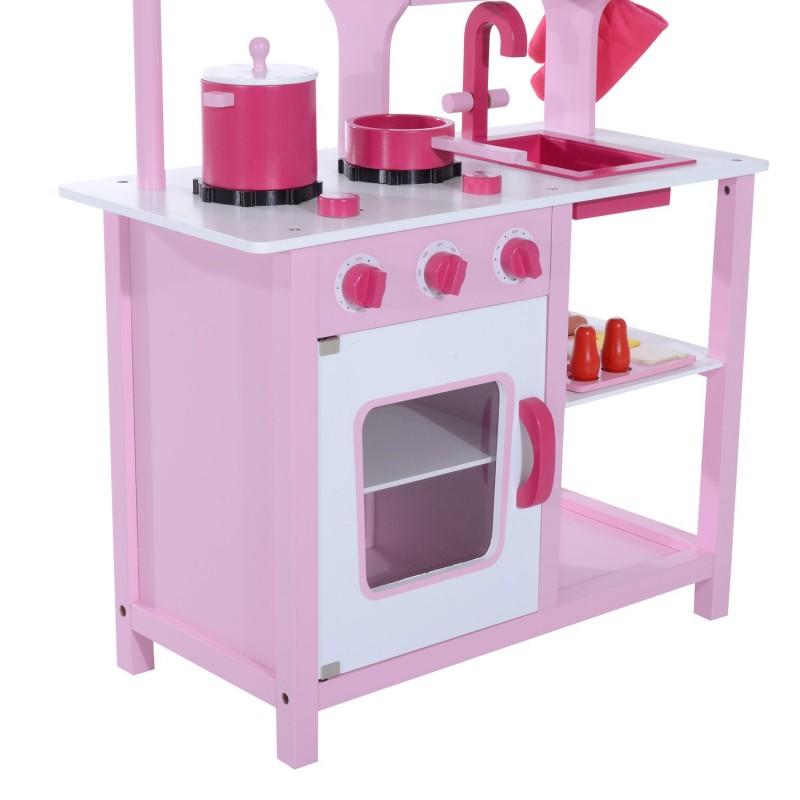 Cocina de juguete infantil con accesorios madera for Cocina de madera juguete