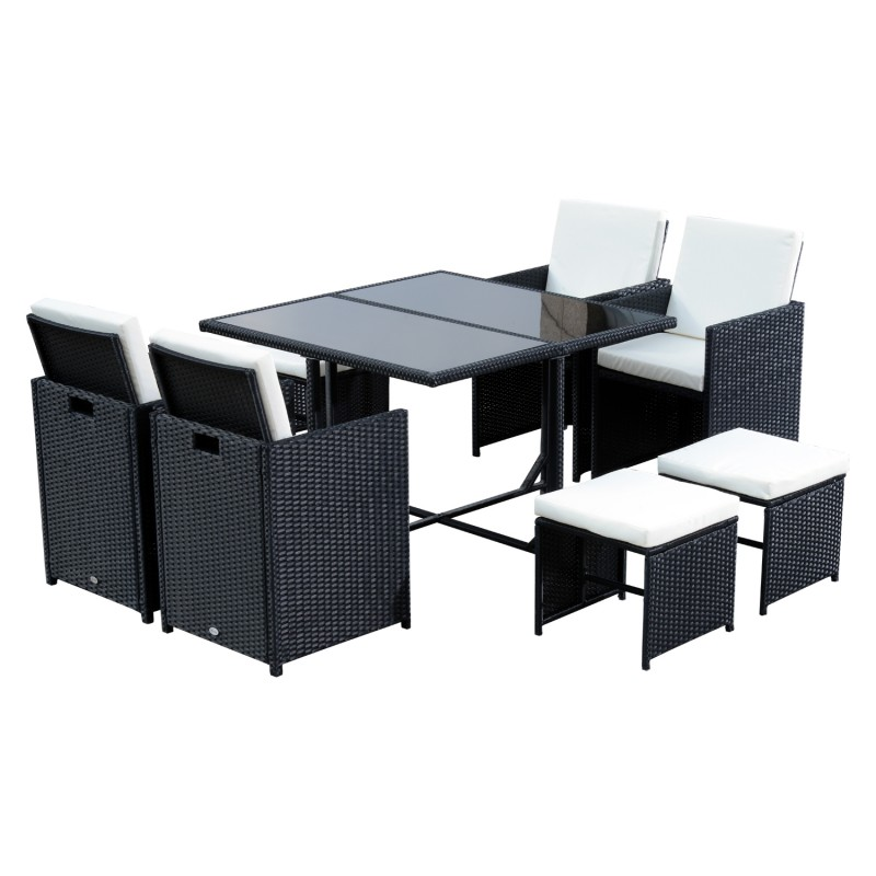 Conjunto de muebles rat n de jard n con 9 piezas - Conjunto muebles jardin ...