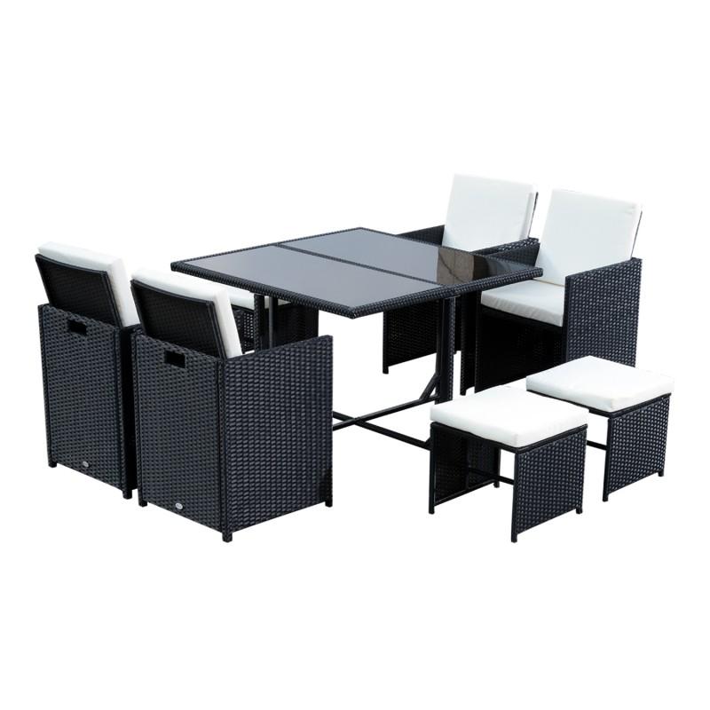 Conjunto de muebles rat n de jard n con 9 piezas for Conjunto muebles de jardin