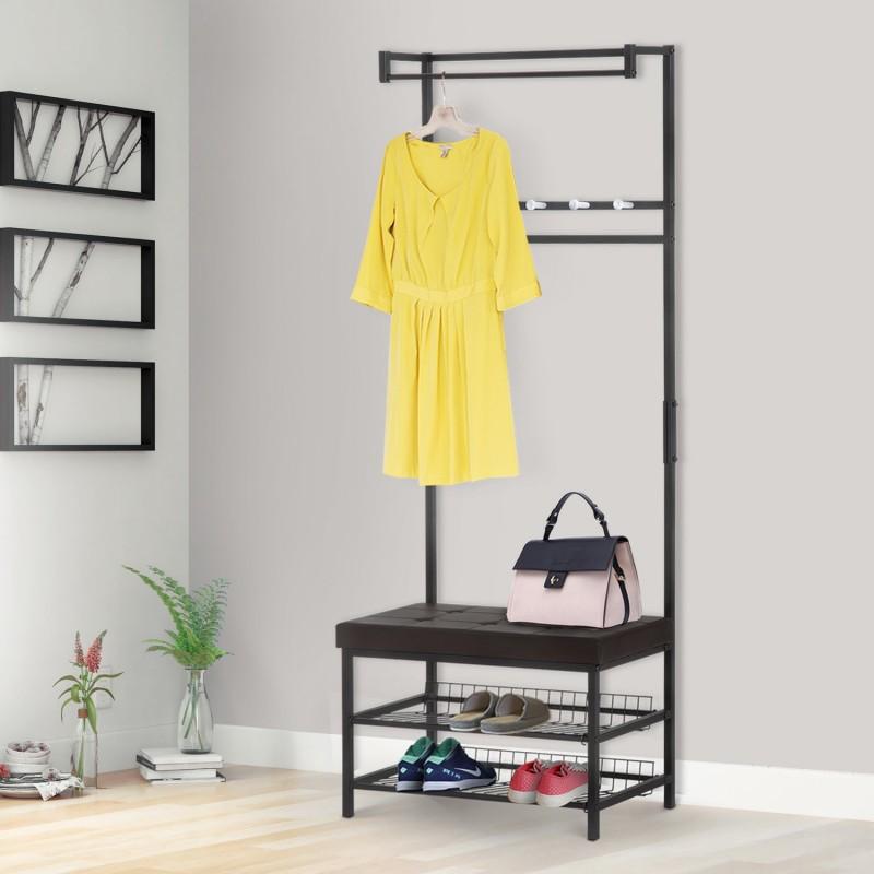 Perchero con asiento acolchado estante para zapatos - Colgador de camisas ...