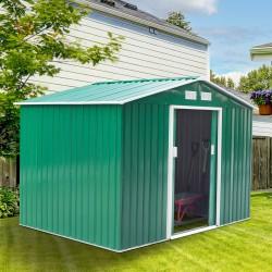 Caseta de Jardín tipo Cobertizo Metálico Verde para...