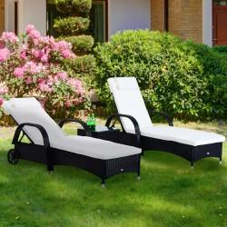 Set de 2 Tumbonas Chaise Longue + 1 Mesa de Ratan p...