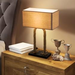 Lámpara de Mesa Original estilo Vintage de Cuerda y...
