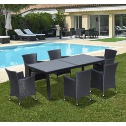 Conjunto muebles jardin de Ratan 1 mesa de comedor 6...