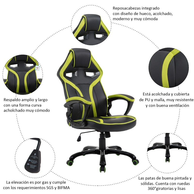 Silla de oficina ejecutiva reclinable y deportiva d for Silla oficina reclinable