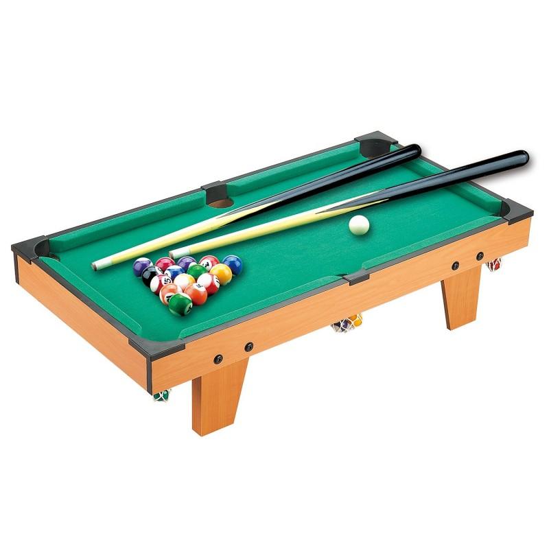 mesa de billar con accesorios de madera para ni os
