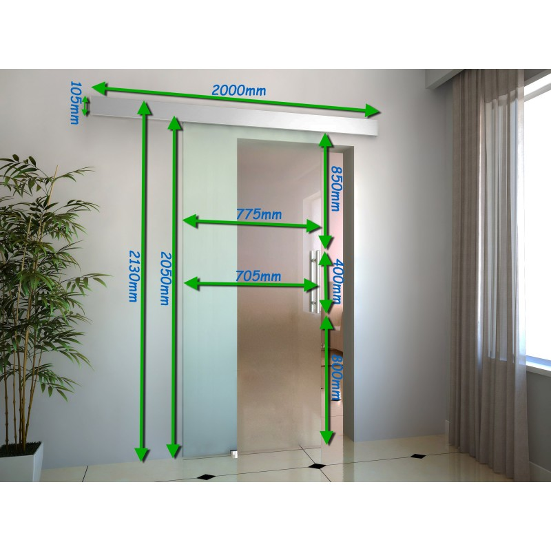 puerta corredera transparente de cristal sin obra