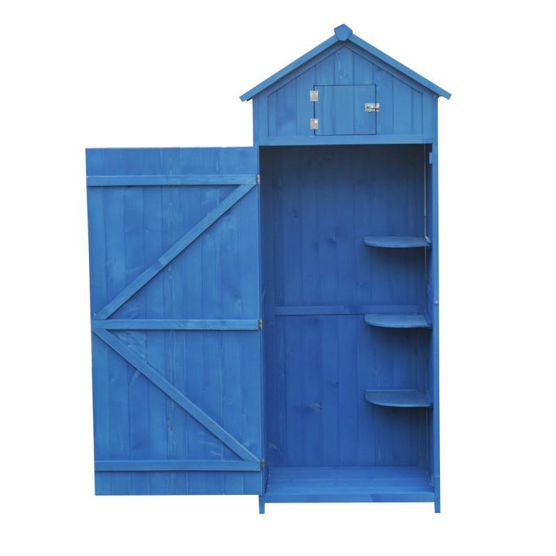 Cobertizo Para Jardin Madera Azul 77x542x179cm - Cobertizo-para-jardin