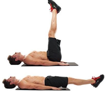 elevaciones de piernas abdominales inferiores en el suelo